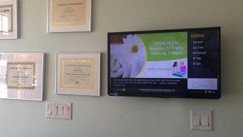 Digital Signage Menuboard Solution for Tatiana Esthetics by SmoothwebLife TV